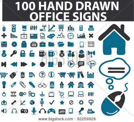 100 hand drawn office signs. vector