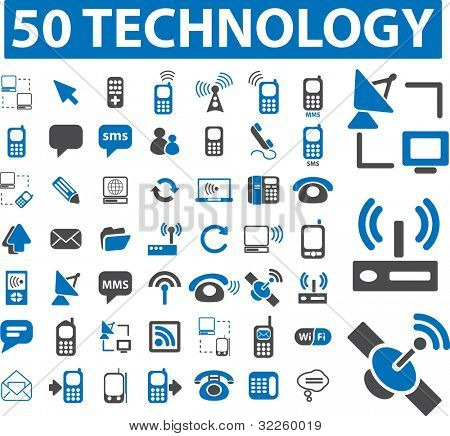 50 technology signs. raster version