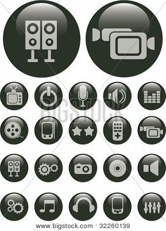 black pearl media buttons. vector