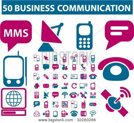 50 business communication signs. vector