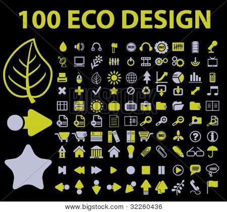100 eco design signs. vector