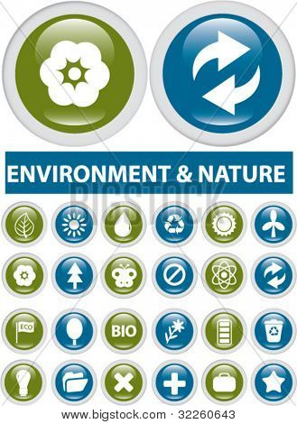 cool nature buttons. vector