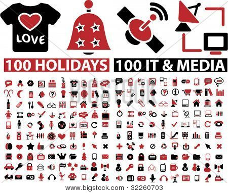200 holidays & media signs. vector