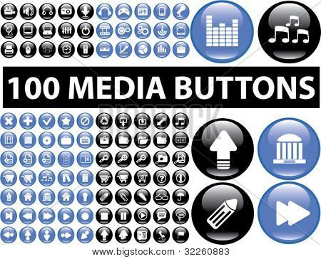 100 media blue & black buttons. vector