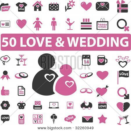 50 cute love & wedding signs. vector