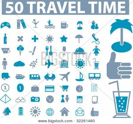 50 travel time icons, vector