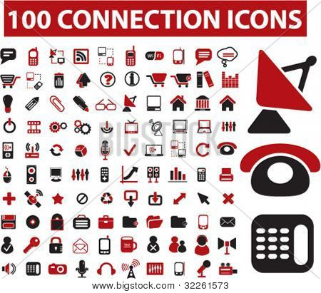 100 connection icons, vector