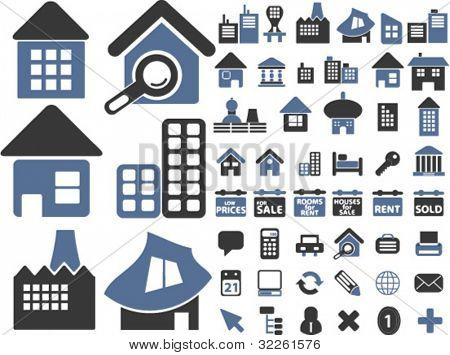 houses & buildings, concept identity icons & signs, vector