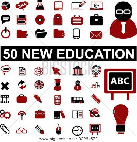 50 new education, school, science icons & signs, vector
