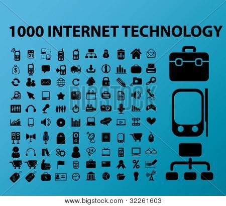 100 internet technology icons, vector