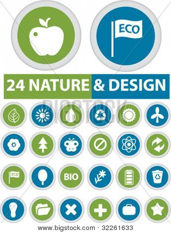 24 nature & design buttons, vector