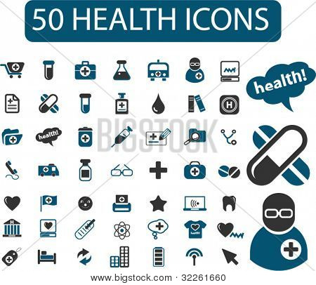 50 health & medicine icons, signs, vector