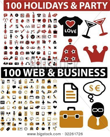 200 holidays, party & web, business icons, signs, vector illustations