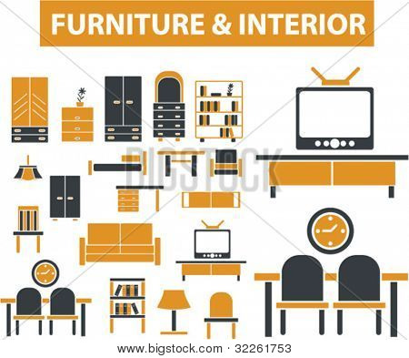 furniture & interior, decoration signs, icons, vector illustrations