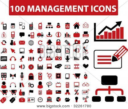 100 management icons, signs, vector