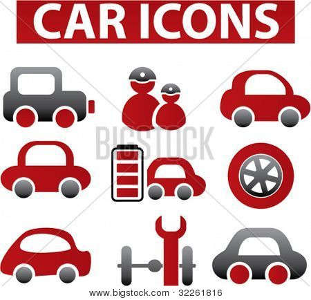 car icons & signs, vector