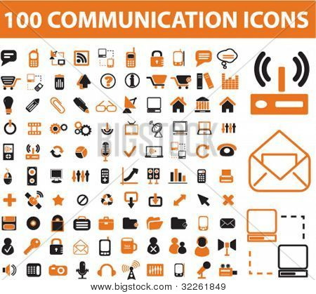 100 communication icons, vector