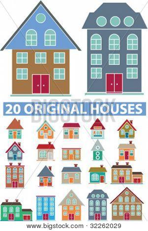 20 houses & buildings, vector