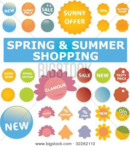 spring & summer shopping labels, stickers, vector