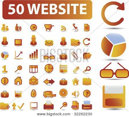 40 website icons, signs, vector illustrations