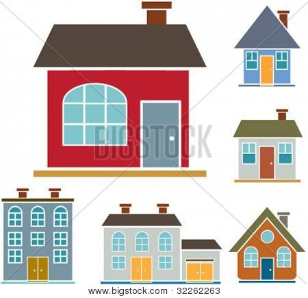 buildings icons, signs, vector