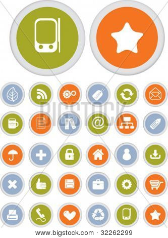 30 office & internet buttons, vector