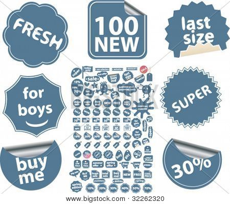 100 shopping & sales stickers, labels, icons, signs, vector illustrations