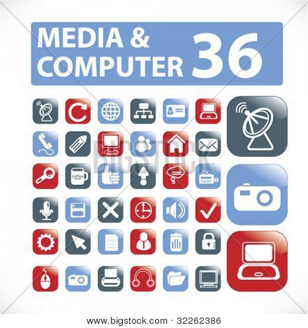 media glossy buttons, icons, signs, vector illustrations