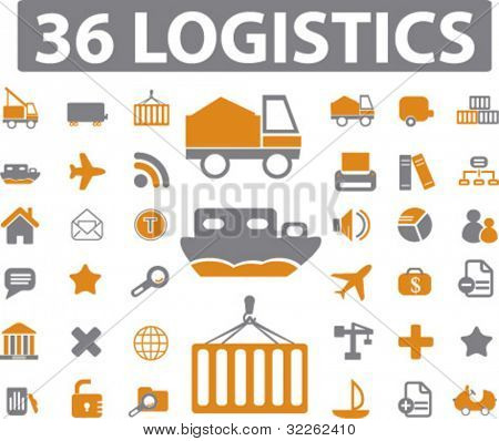 36 logistics icons, signs, vector illustrations