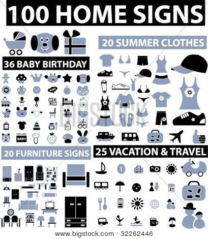 100 home & decor & clothes & baby & vacation icons, signs, vector illustrations