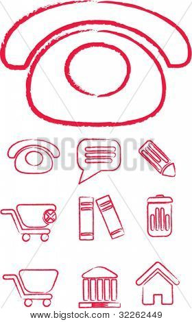doodle phone icons, signs, vector illustrations