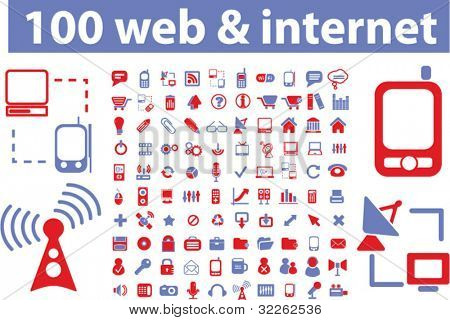 100 web & internet icons, signs, vector illustrations