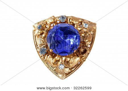 Vintage Brooch With A Large Amethyst