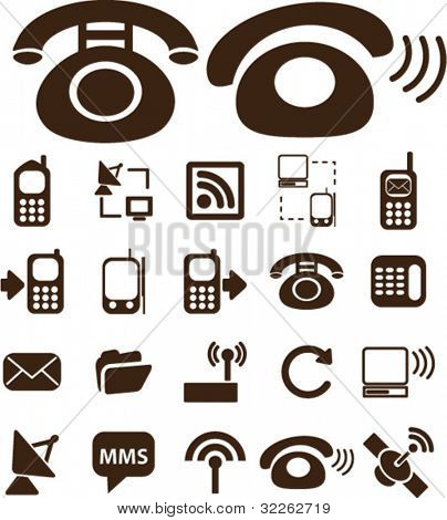 phone & communication icons, signs, vector
