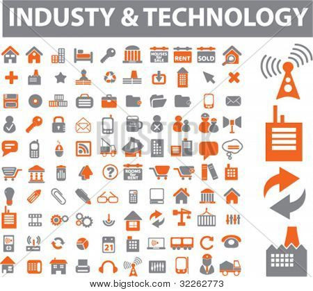 industry & technology icons, signs, vector illustrations