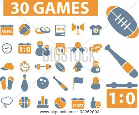 30 games icons, signs, vector