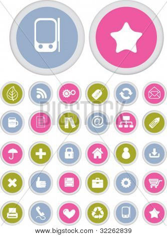 colorful presentation buttons icons, signs, vector
