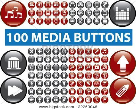 100 media glossy buttons, icons, signs, vector illustrations