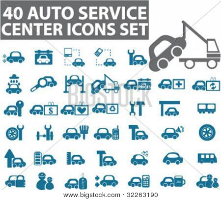40 auto service center icons, signs, vector illustrations