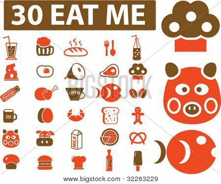 30 eat me signs, icons, vector
