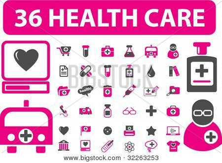 36 health care & medicine signs, icons, vector