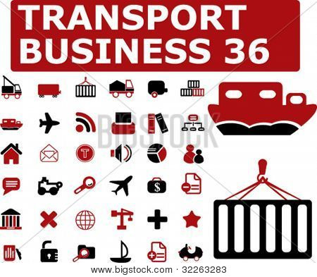 36 transport business icons, signs, vector