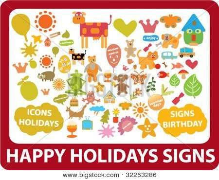 happy holidays icons, signs, vector