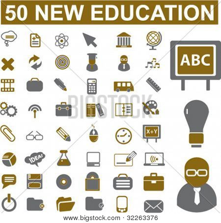 50 new education icons, signs, vector illustration