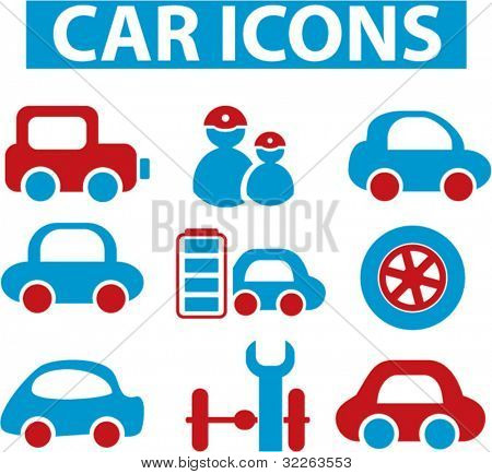 car icons, signs, vector illustrations