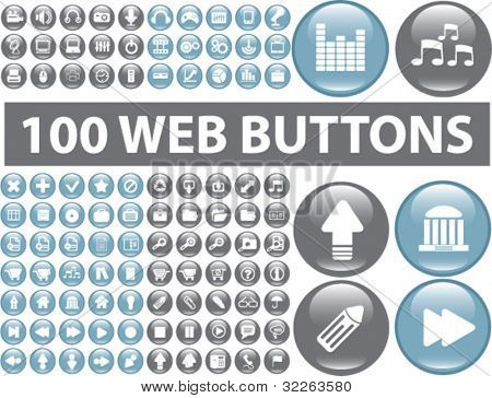 100 web buttons icons, signs, vector