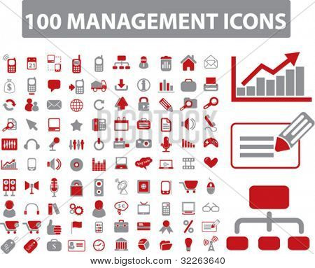 100 management icons, signs, vector illustrations