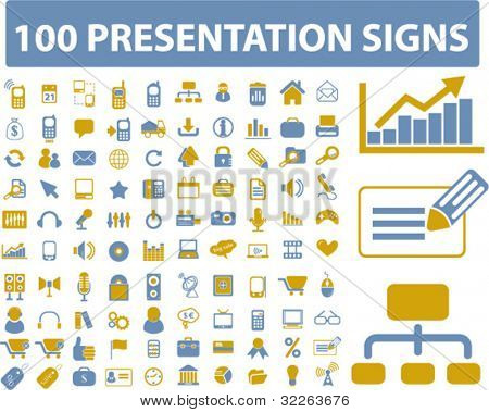 100 presentation icons, signs, vector illustration