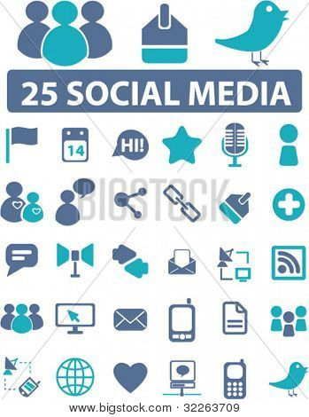 25 soical media icons, signs, vector illustrations