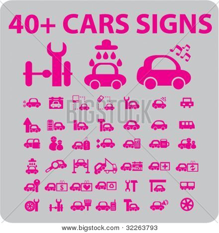 40+ cars icons, signs, vector
